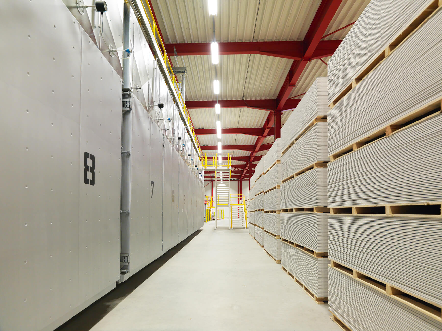 Service for production of plasterboards