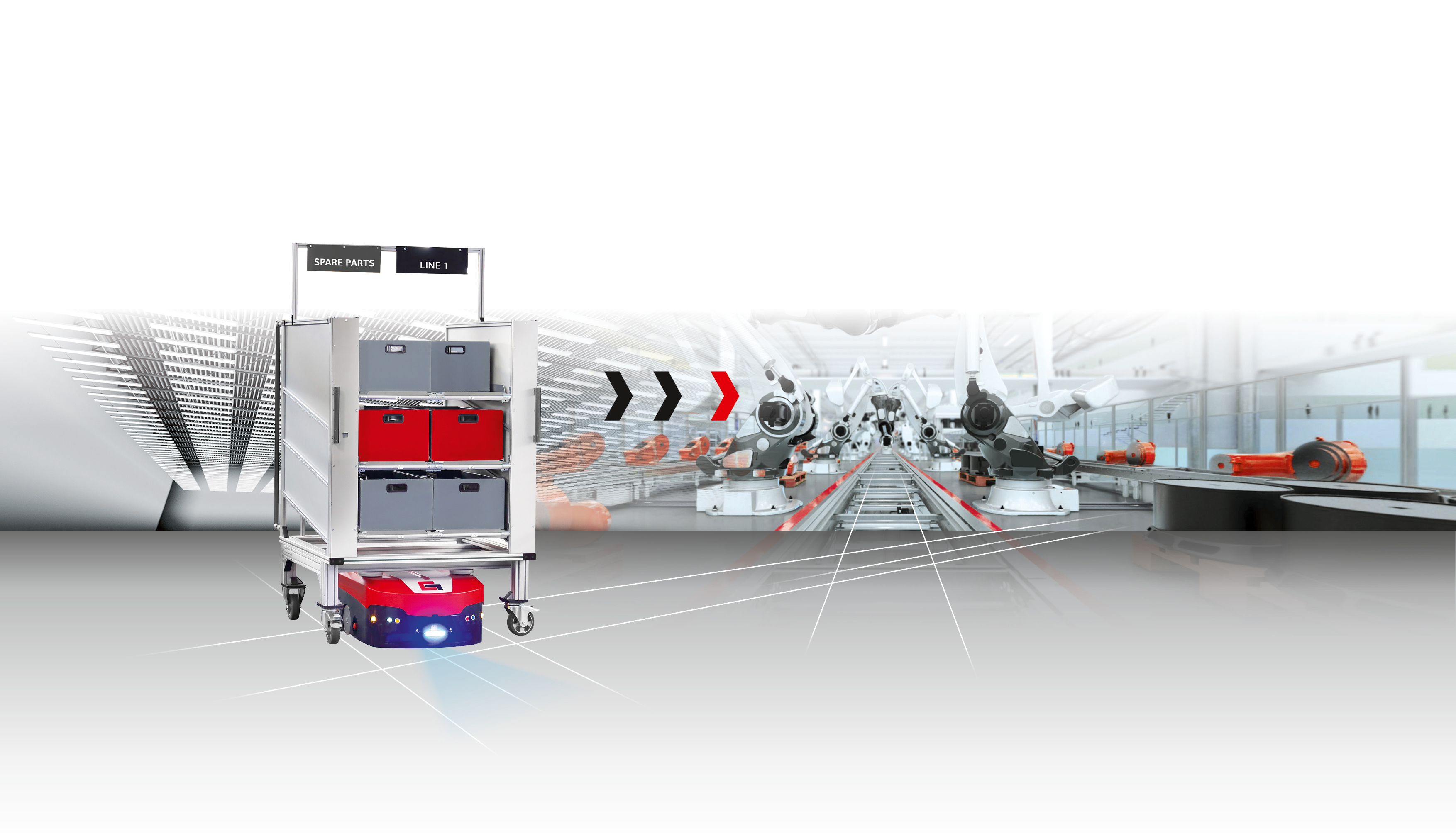 Driverless transport systems for in-house parts transport